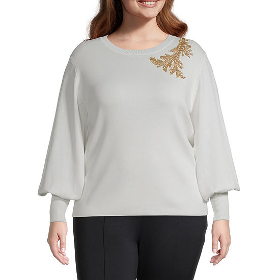 Worthington Womens Dramatic Sleeve Blouse - Plus