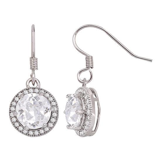 Silver-Tone Round Cubic Zirconia Drop Earrings