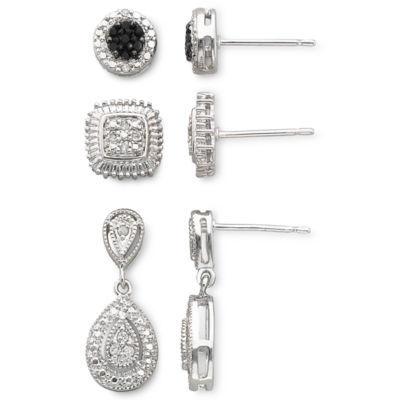 1/4 CT. T.W. White & Color-Enhanced Black Diamond 3-Pair Earring Set