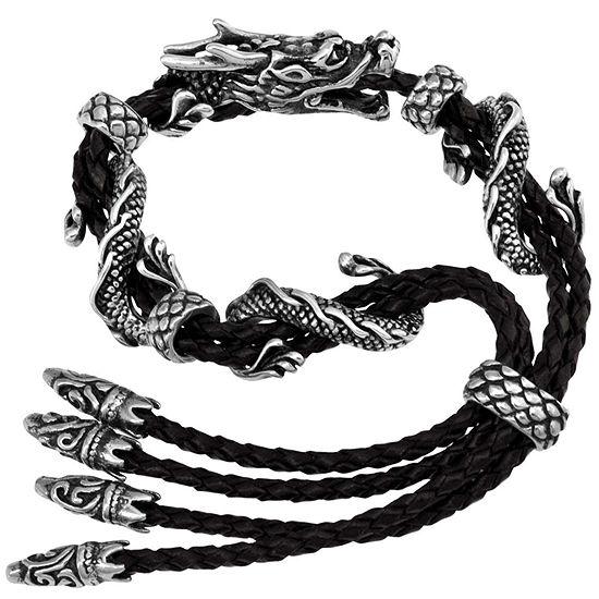 Dragon Stainless Steel & Leather Mens Bracelet