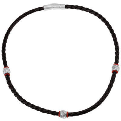 Men's Braided Leather & Stainless Steel Necklace