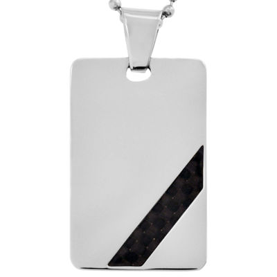 Men's Black Carbon Fiber Dog Tag Stainless Steel