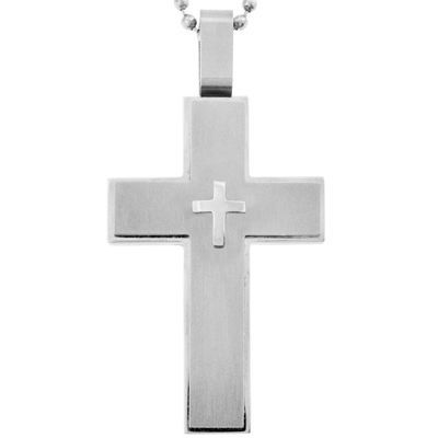 Mens Large Cross Pendant Necklace Stainless Steel