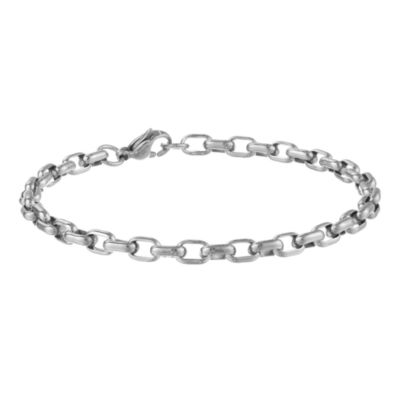 "Mens Stainless Steel 8"" 5mm Rolo Bracelet"