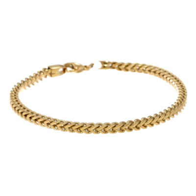 "Mens Stainless Steel & Gold-Tone IP 9"" 5mm Foxtail Bracelet"