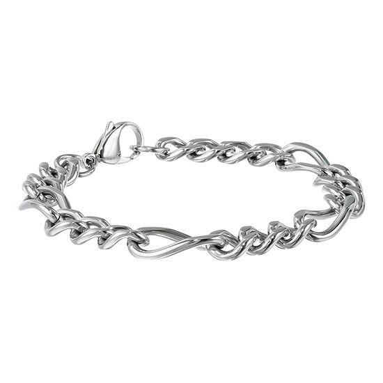 Mens Stainless Steel 9 11mm Figaro Bracelet