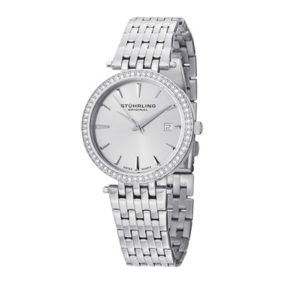 Stührling® Original Womens Crystal-Accent Stainless Steel Bracelet Watch 6549.02