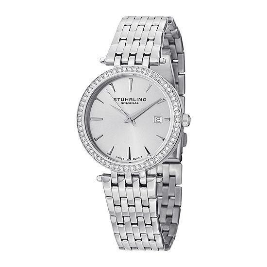 Stührling® Original Womens Crystal-Accent Stainless Steel Bracelet Watch 6549.02