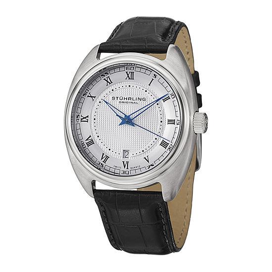 Stührling® Original Mens Black Leather Strap Watch 4526.03