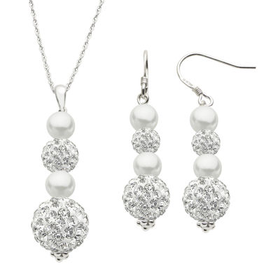 Cultured Freshwater Pearl and Crystal Earring and Necklace Set