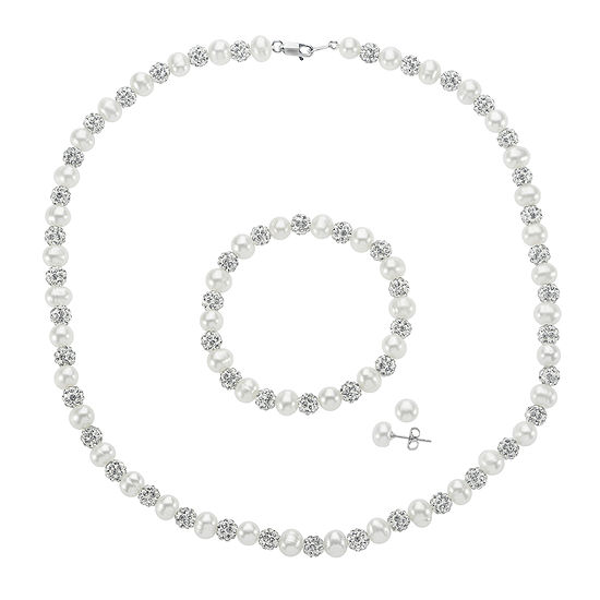 Cultured Freshwater Pearl and Crystal Fireball 3-pc. Jewelry Set