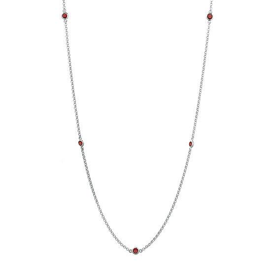 Genuine Garnet Sterling Silver Station Necklace