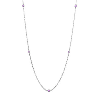 Genuine Amethyst Sterling Silver Station Necklace