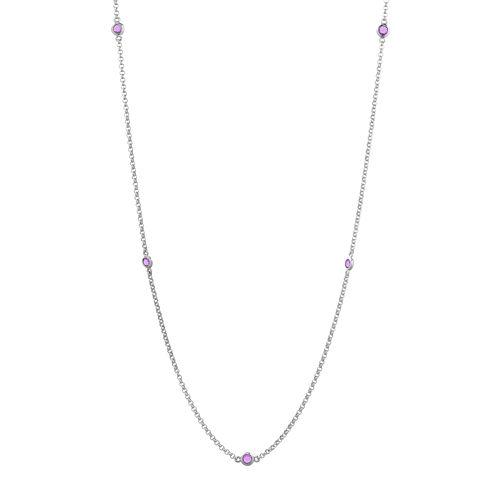 Genuine Amethyst Sterling Silver Station Necklace