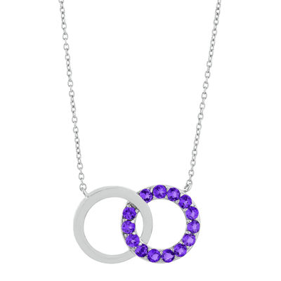 Genuine Amethyst Interlocking Double-Circle Sterling Silver Necklace