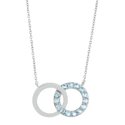 Lab-Created Aquamarine Interlocking Double-Circle Sterling Silver Necklace