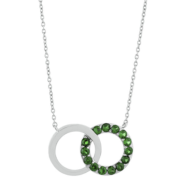 Lab-Created Emerald Interlocking Double-Circle Sterling Silver Necklace