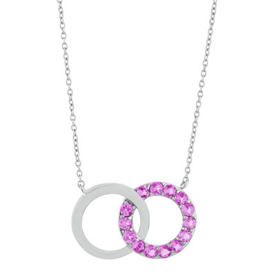 Lab-Created Pink Sapphire Interlocking Double-Circle Sterling Silver Necklace