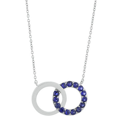 Lab-Created Sapphire Interlocking Double-Circle Sterling Silver Necklace