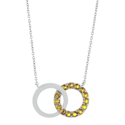 Genuine Citrine Interlocking Double-Circle Sterling Silver Necklace