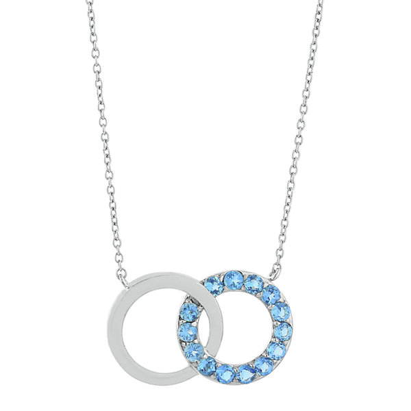 Genuine Blue Topaz Interlocking Double-Circle Sterling Silver Necklace