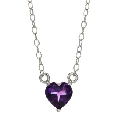 Genuine Amethyst Sterling Silver Heart Pendant Necklace