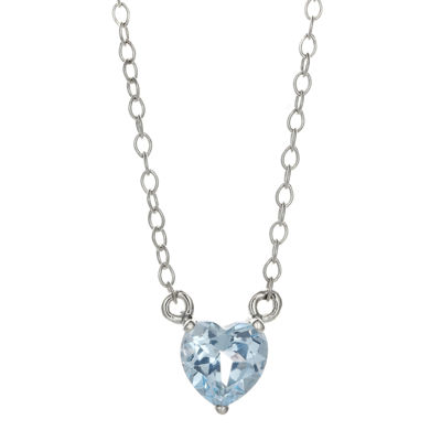 Simulated Aquamarine Sterling Silver Heart Pendant Necklace