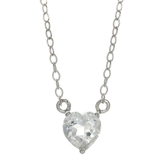 Genuine White Topaz Sterling Silver Heart Pendant Necklace