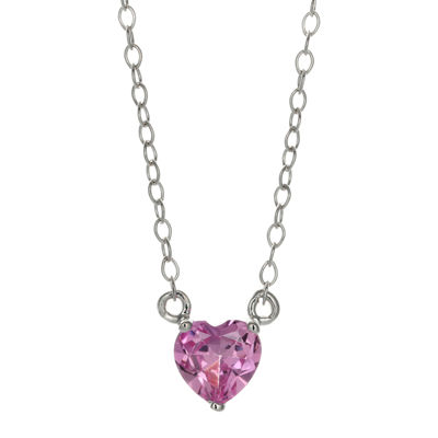 Lab-Created Pink Sapphire Sterling Silver Heart Pendant Necklace