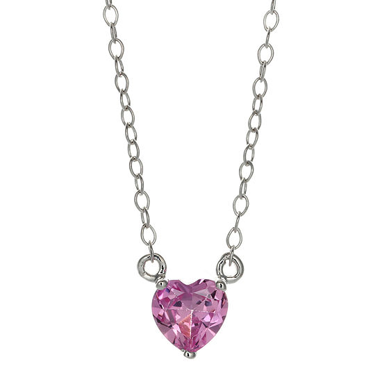 Lab Created Pink Sapphire Sterling Silver Heart Pendant Necklace