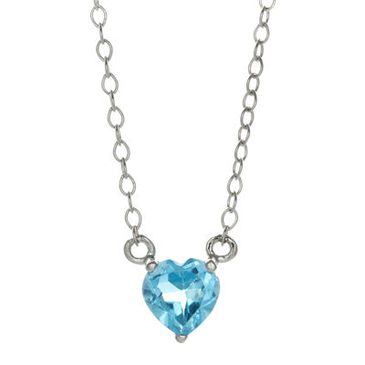 Genuine Blue Topaz Sterling Silver Heart Pendant Necklace