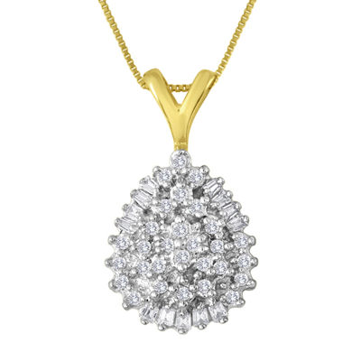1/4 CT. T.W. Diamond 10K Yellow Gold Pear-Shaped Cluster Pendant Necklace