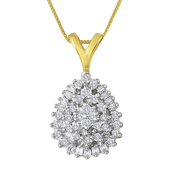 1 4 Ct Tw Diamond 10k Yellow Gold Pear Shaped Cluster Pendant Necklace