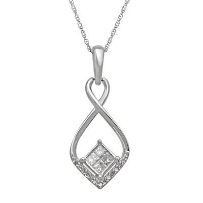 1/4 CT. T.W. Diamond 10K White Gold Quad Princess-Cut Pendant Necklace