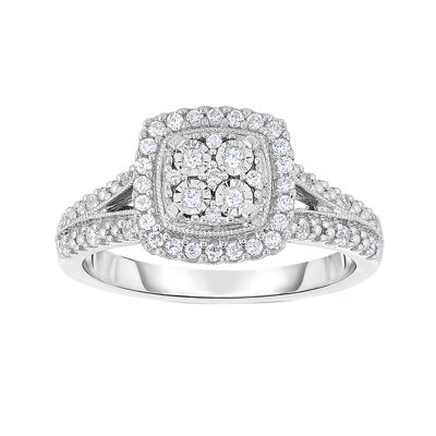 TruMiracle® 1/4 CT. T.W. Genuine Diamond Sterling Silver Square Ring