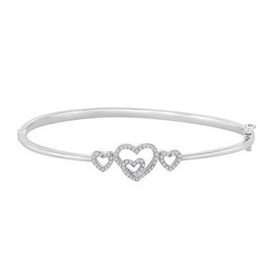 ForeverMine® 1/4 CT. T.W. Diamond Sterling Silver Multi-Heart Bangle Bracelet
