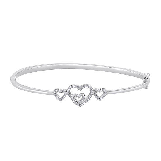 ForeverMine® 1/4 CT. T.W. Diamond Sterling Silver Multi-Heart Bangle Bracelet