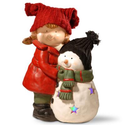15I LIGHTED GIRL & SNOWMAN DÉCOR