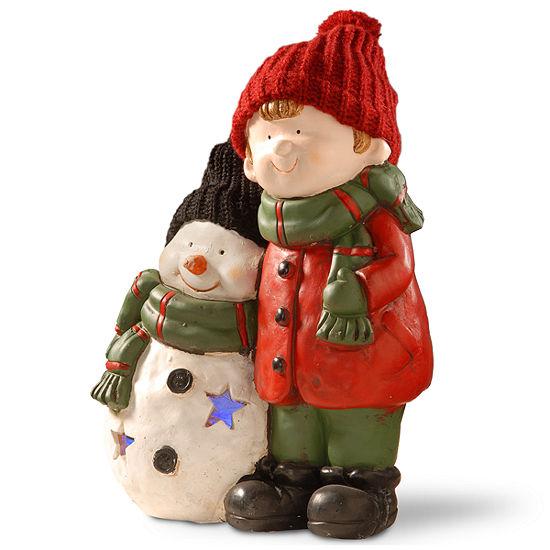 15I LIGHTED BOY & SNOWMAN DÉCOR