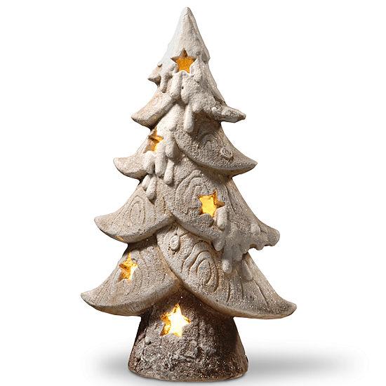 Lighted Snowy Star Tree Décor Piece