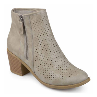 Journee Collection Womens Meleny Bootie Stacked Heel Zip