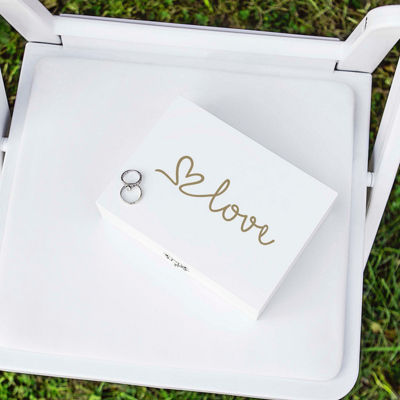 Cathy's Concepts Gold Love Wedding Ring Bearer Box