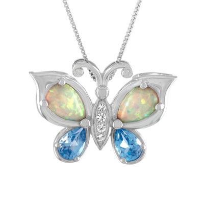 Womens Lab-Created Opal and Genuine Blue Topaz Sterling Silver Butterfly Pendant Necklace