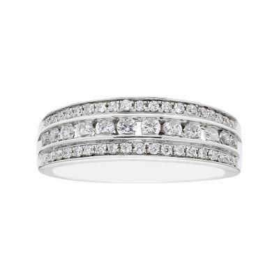 Modern Bride Signature Womens 3mm 1/2 CT. T.W. Genuine White Diamond 10K Gold Wedding Band