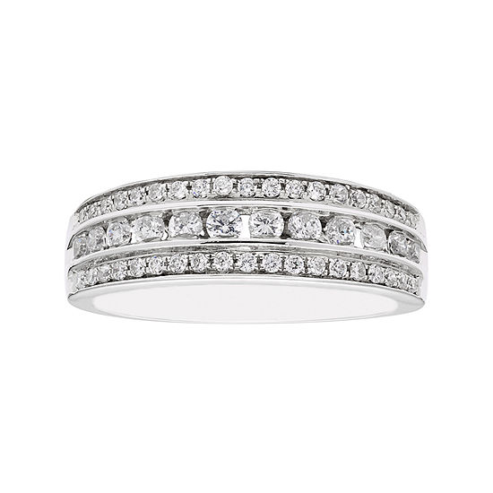 Modern Bride Signature Womens 3MM 1/2 CT. T.W. Genuine White Diamond 10K Gold Wedding Band