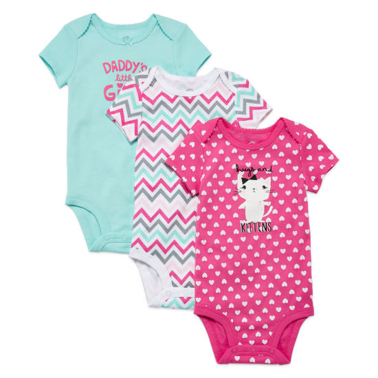 Okie Dokie 3 Pack Short Sleeve Bodysuit - Baby Girl NB-12M