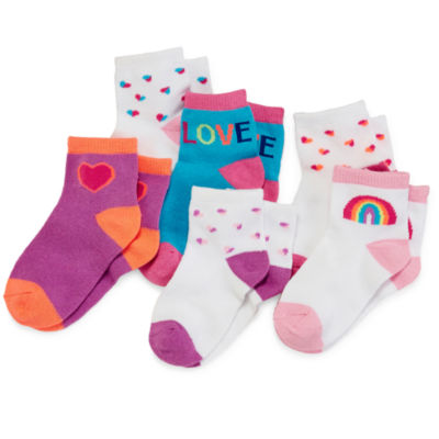 Okie Dokie 6 Pair Crew Socks - Baby Girls newborn-24m