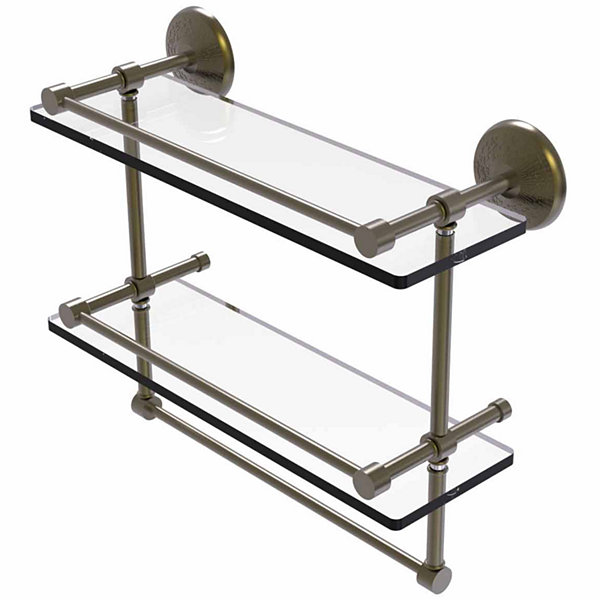 Allied Brass Monte Carlo Collection 16 IN GalleryDouble Glass Shelf With Towel Bar