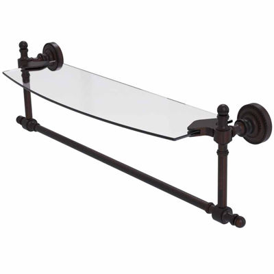 Allied Brass Retro Dot Collection 18 IN  Glass Vanity Shelf  With Integrated Towel Bar