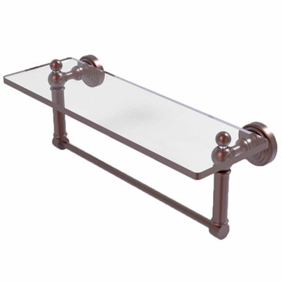 Allied Brass Waverly Place 16 IN  Glass Vanity Shelf  With Integrated Towel Bar